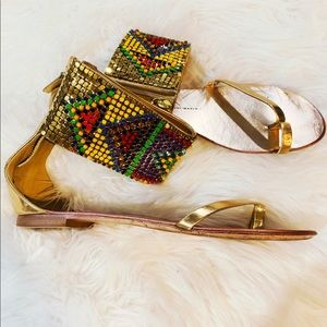 Gold Jeweled Giuseppe Zanotti Sandals